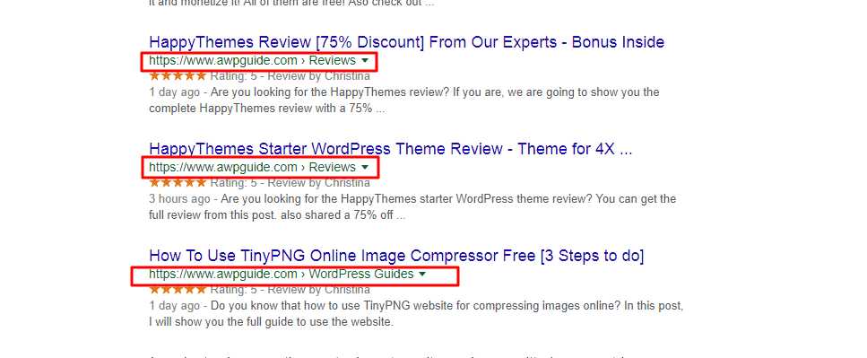 AWPGuide search engine results