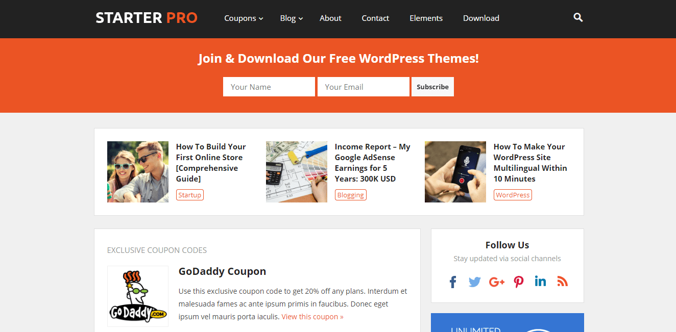 HappyThemes Starter WordPress Theme Review
