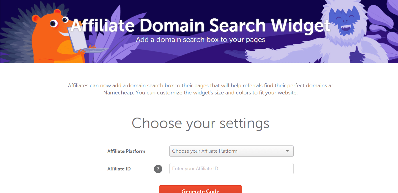 add namecheap domain search widget