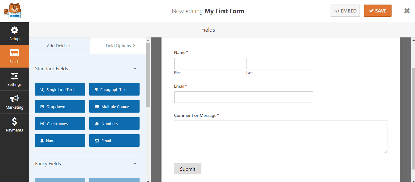 wpforms fields