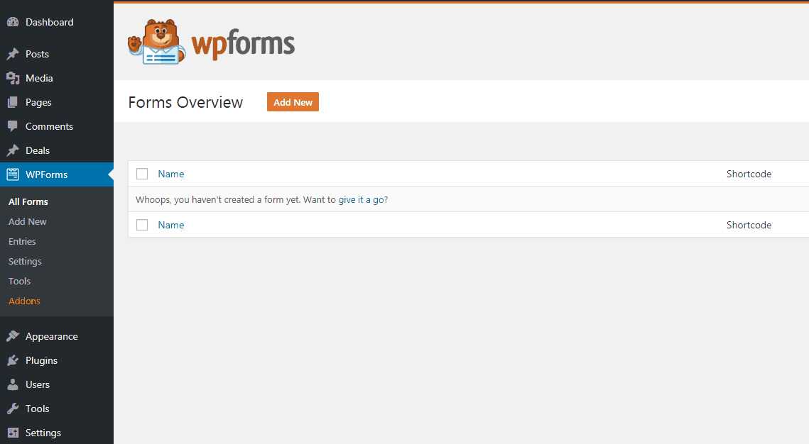 WPForms plugin settings