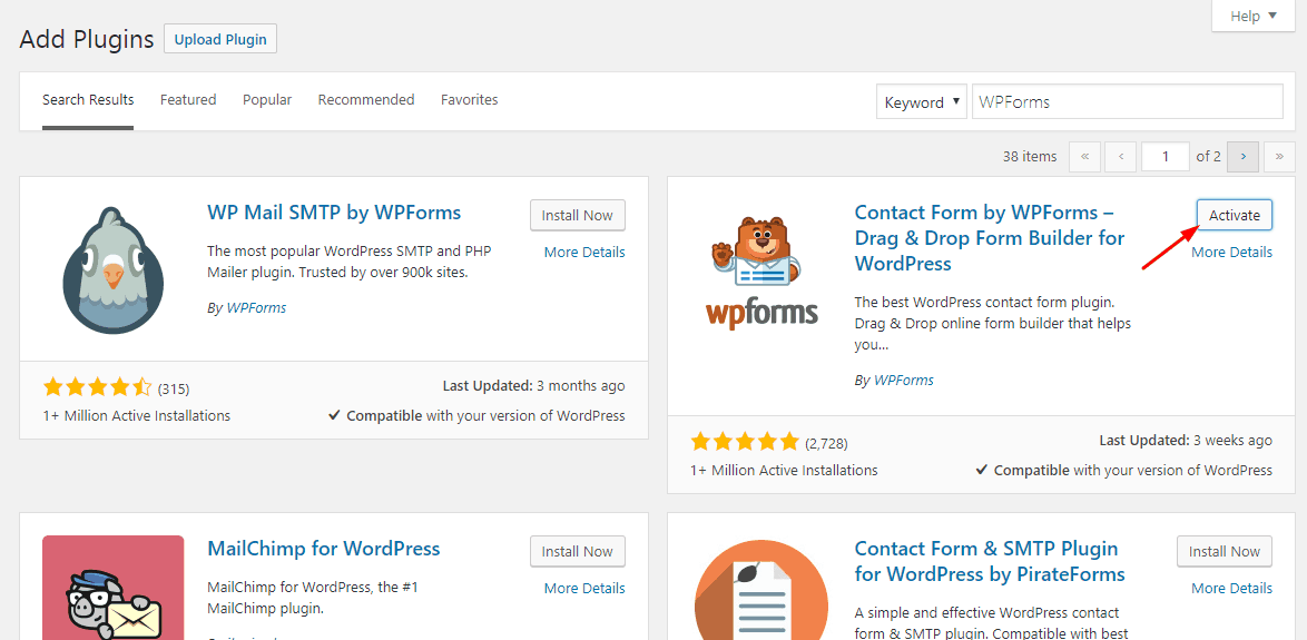 activate WPForms lite plugin