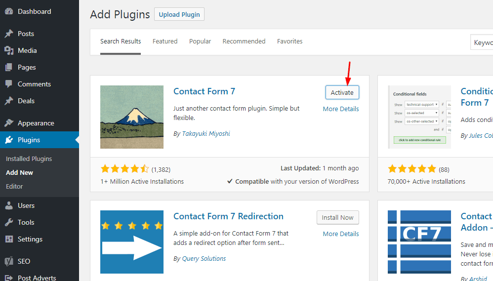 activate contact form 7 plugin