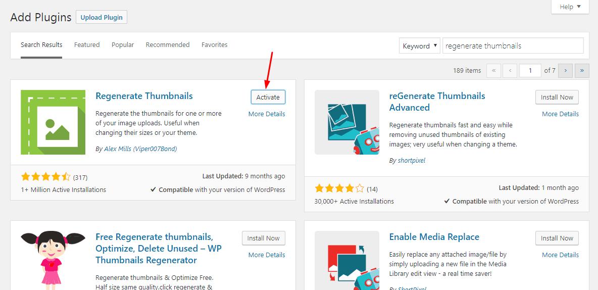 activate regenerate thumbnails plugin