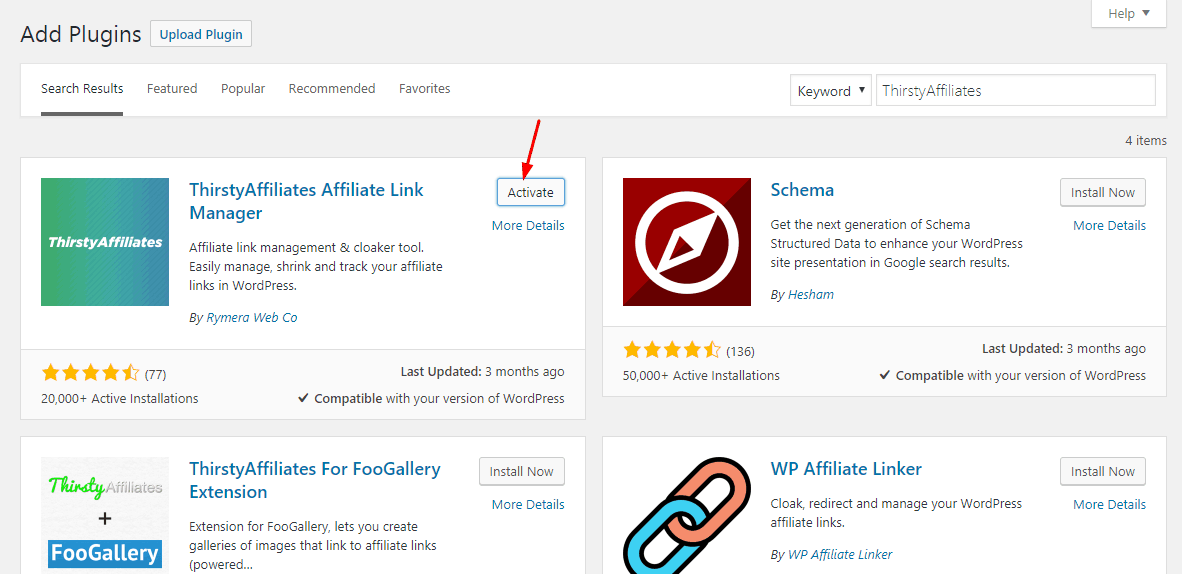 activate thirstyaffiliates plugin