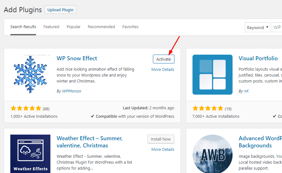 activate WP Snow Effect Plugin