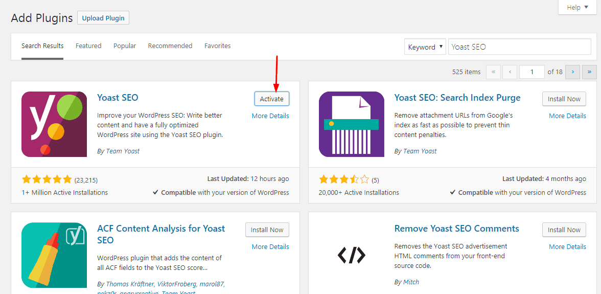 activate free yoast seo plugin