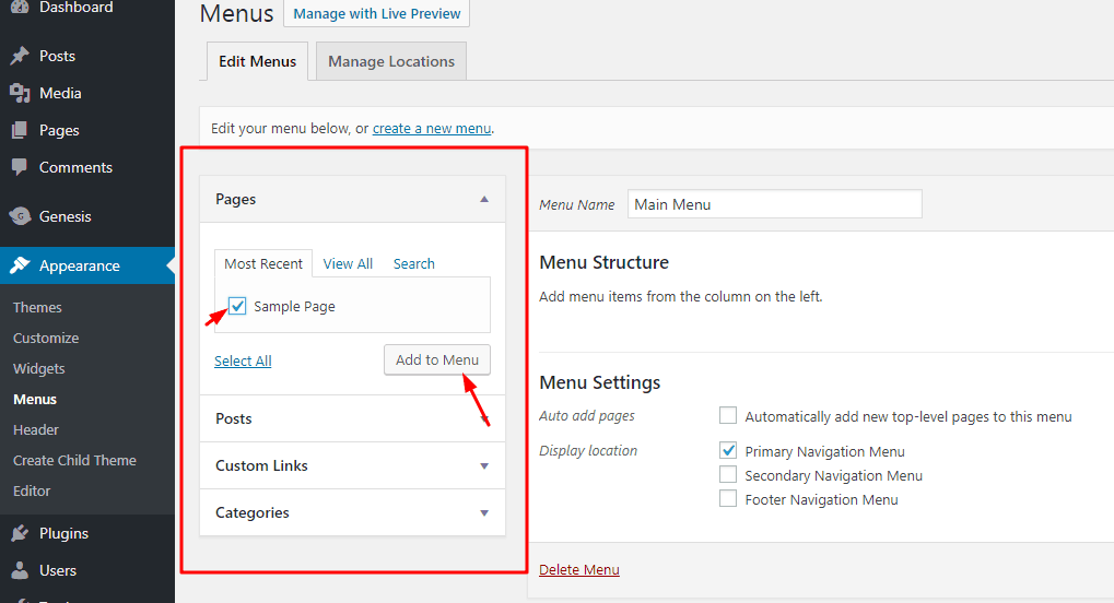 adding items to wordpress menu