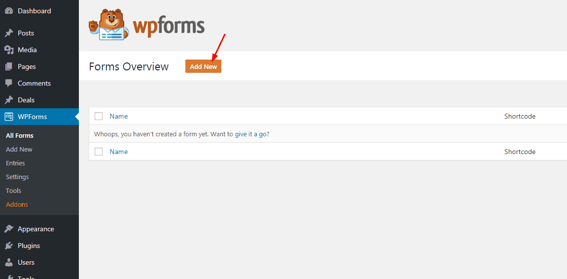 add new contact form using WPForms