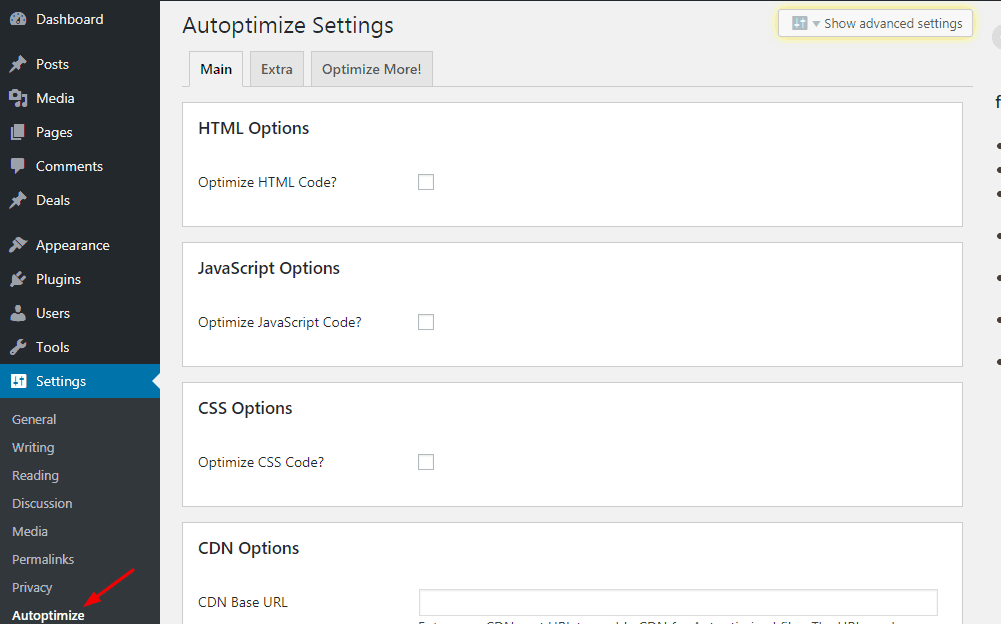 autoptimize plugin settings
