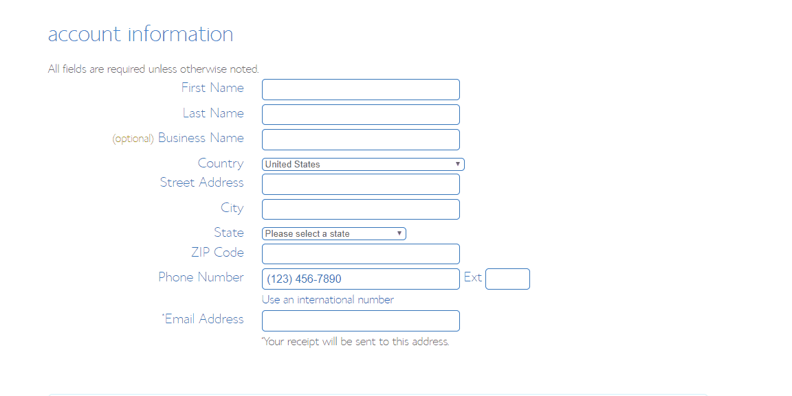 enter bluehost account information