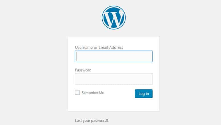 wordpress log in page on bluehost