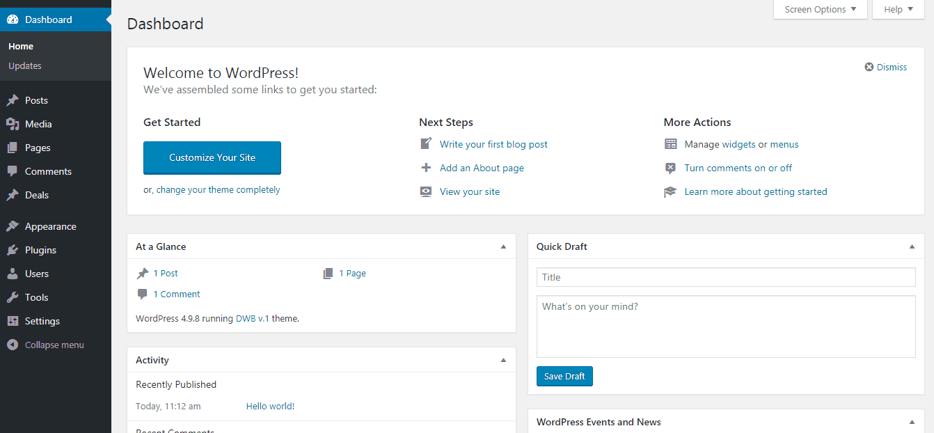 wordpress admin in bluehost