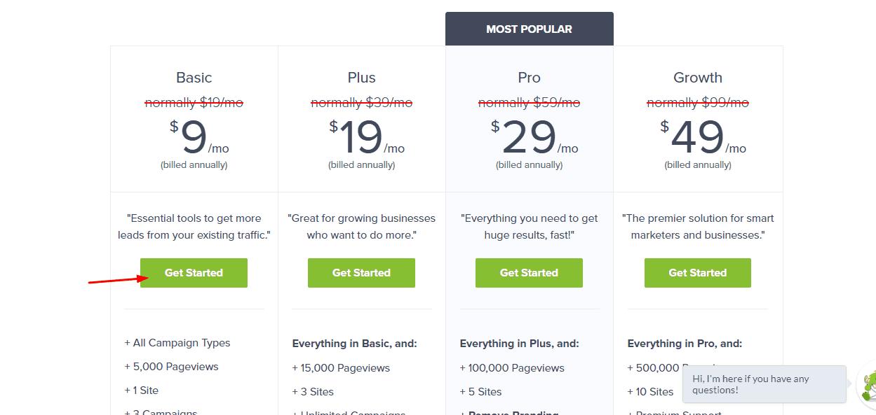 optinmonter basic plan selecting
