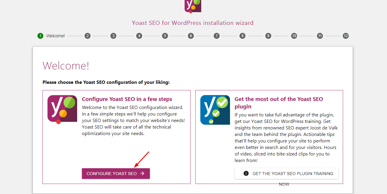 yoast first configuration