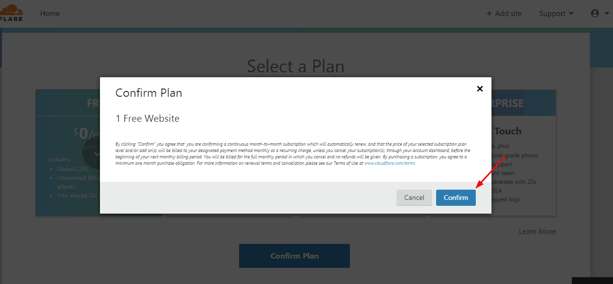 confirm free plan