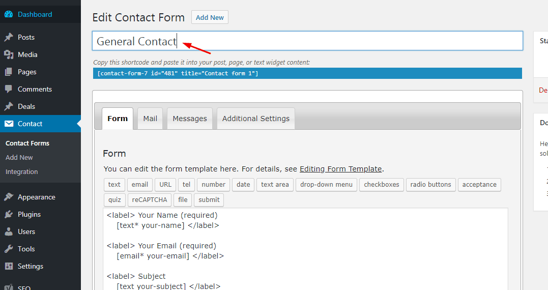 contact form 7 name