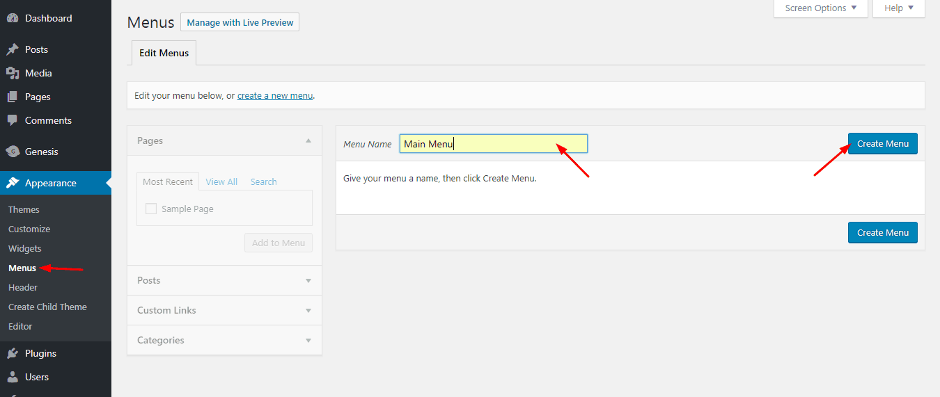 creating menu on wordpress from appearance