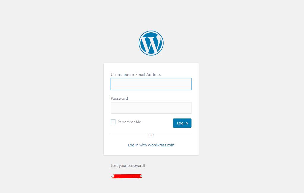 wp-admin page