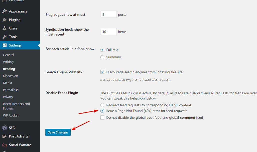 disabling RSS feeds using WordPress plugin