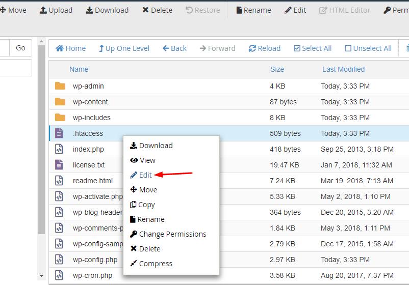 edit htaccess file in wordpress