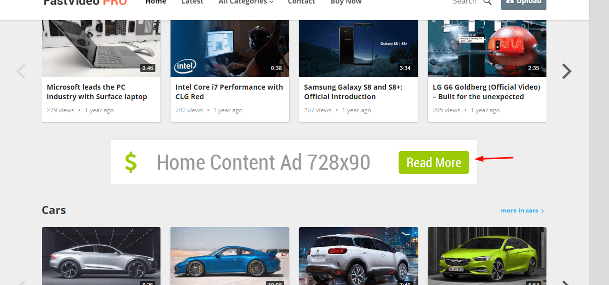 content ad widget on the fastvideo theme
