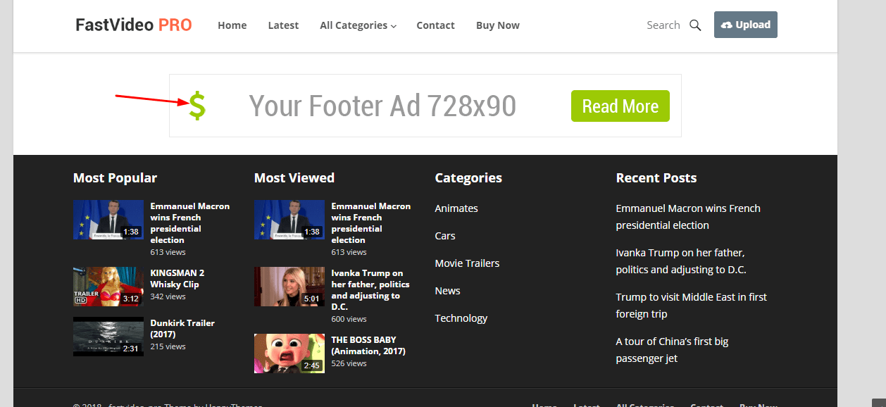 footer ad in fastvideo theme