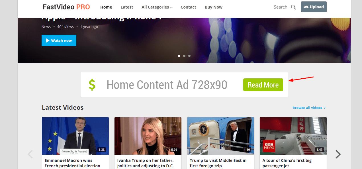 header ad widget on fastvideo theme