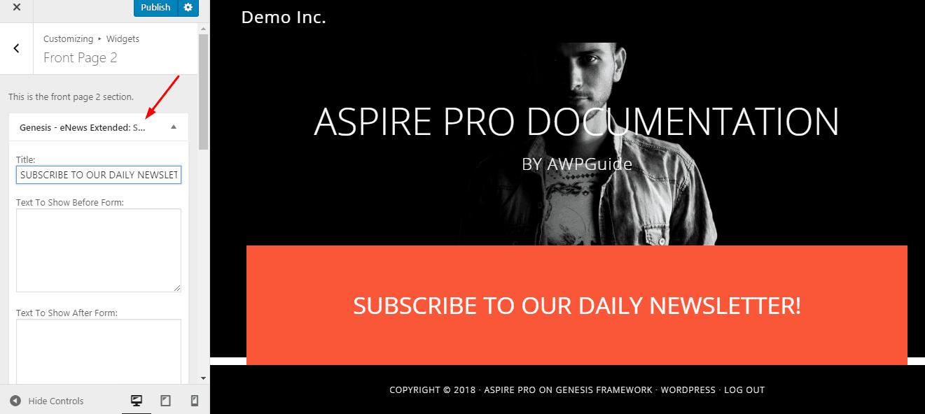 aspire pro front page 2 widget
