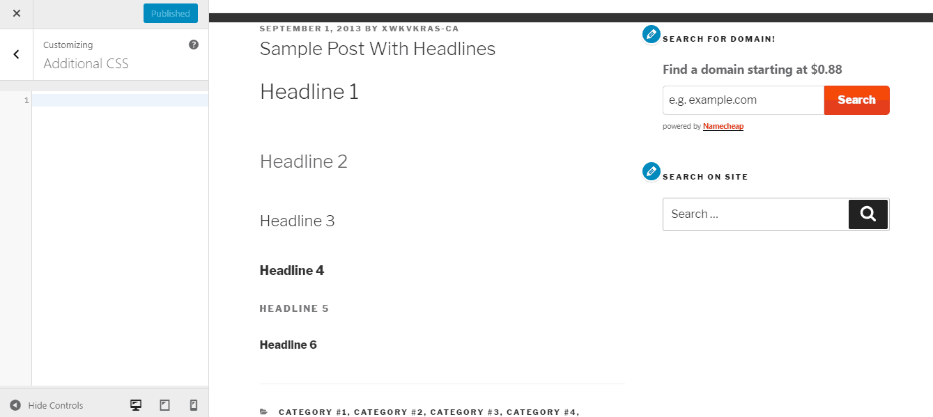 heading 2 tag in wordpress posts and pages