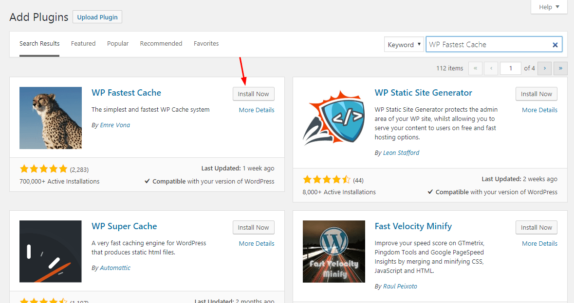 installing wp fastest cache wordpress plugin