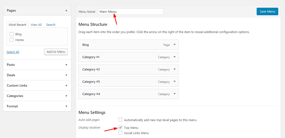 wordpress menu added to location