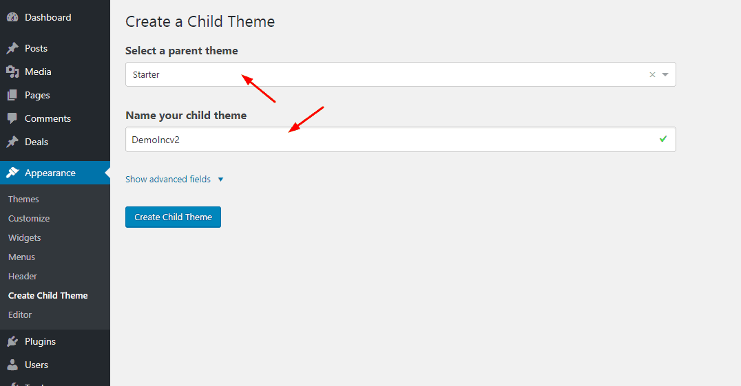 rename WordPress child theme