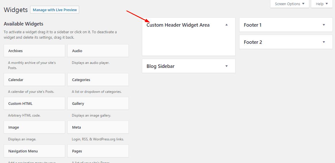 new wordpress header widget registered