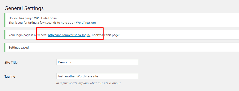 new wordpress login URL wps hide login