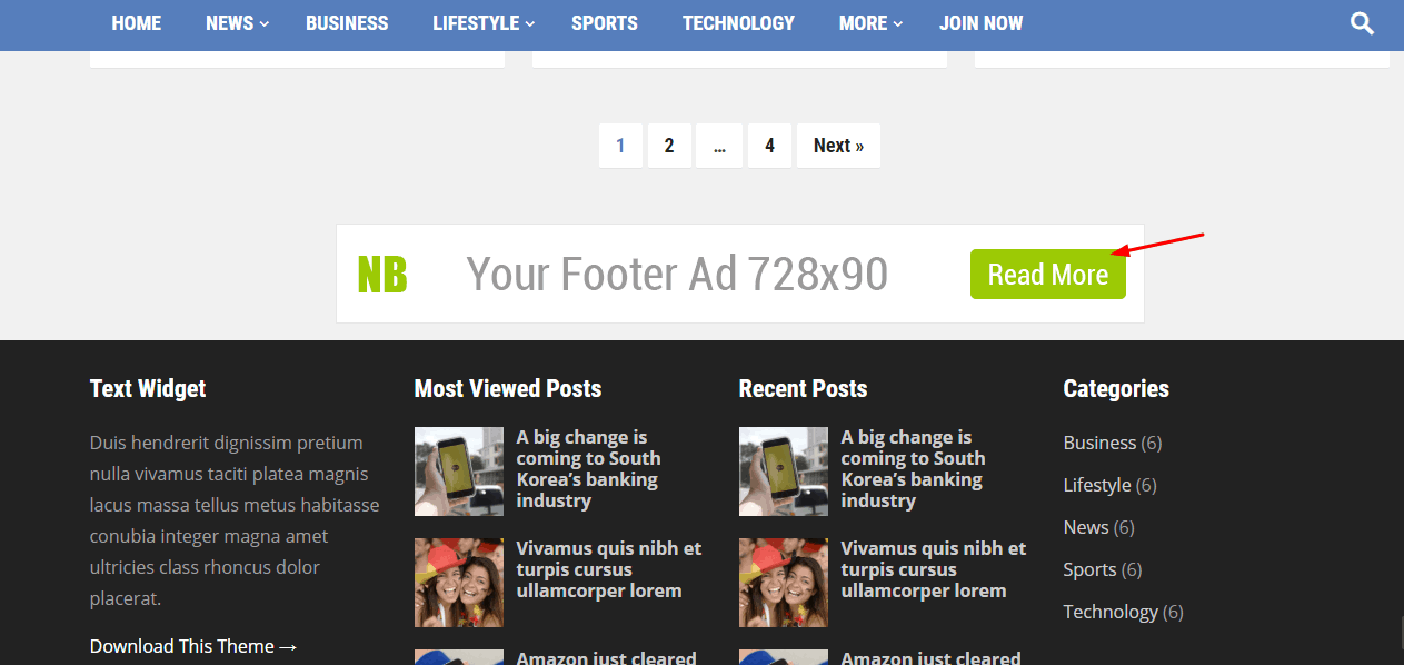 footer ad widget on newsblock theme