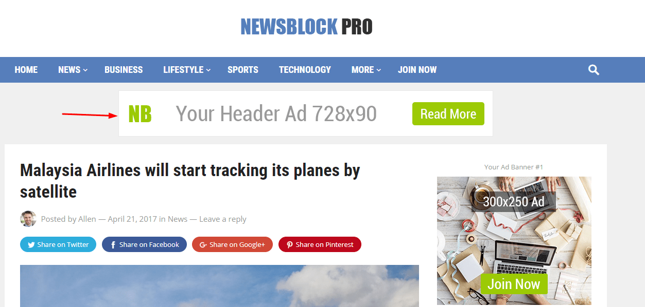 newsblock header ad on home
