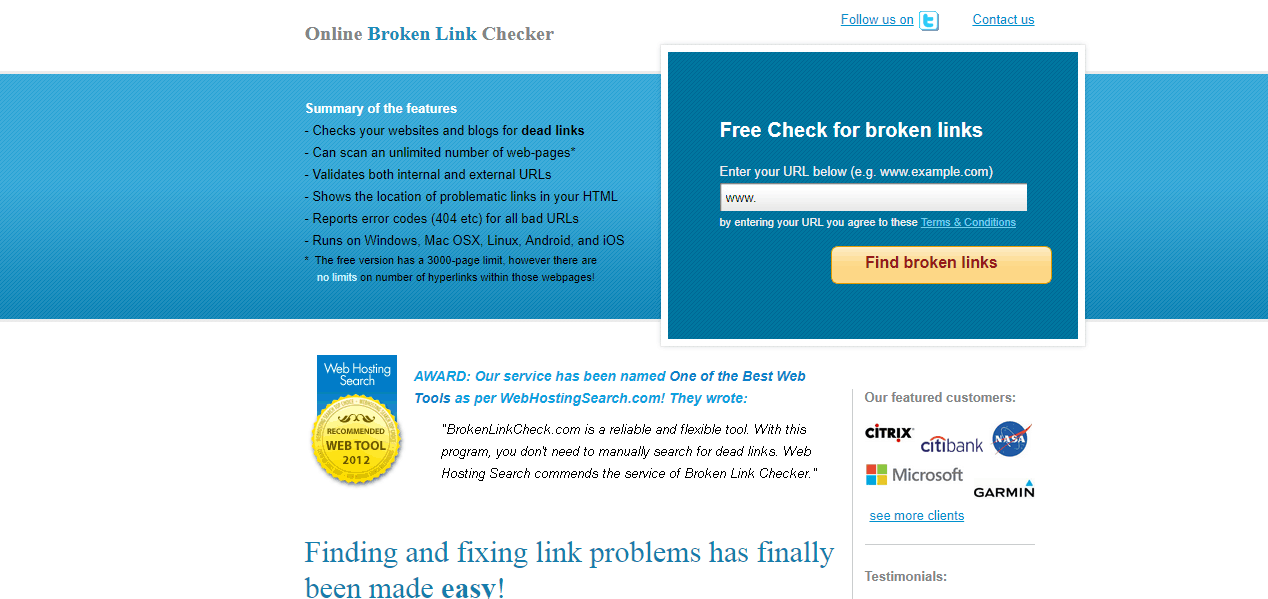 online broken link checker tool website