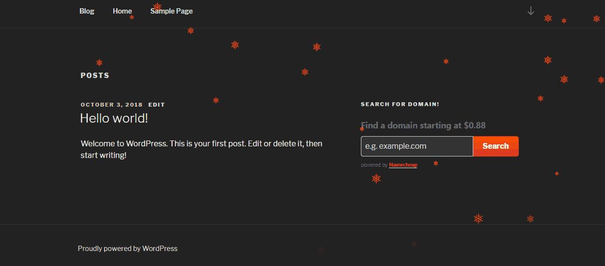 orange colored snowflake on wordpress