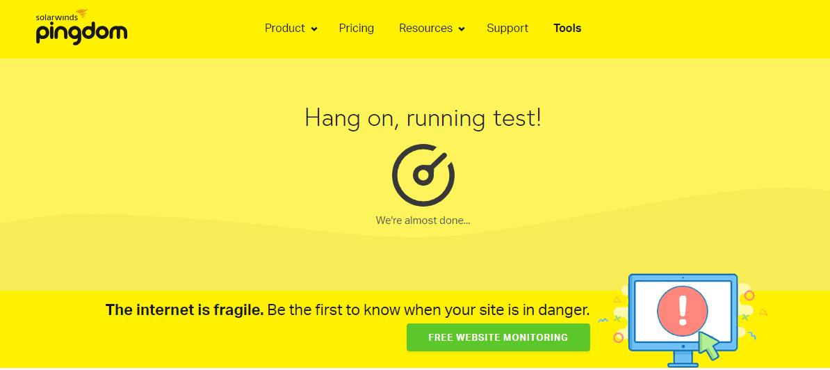 pingdom tool staring test