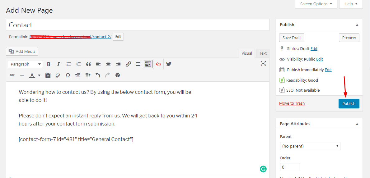 publish the contact page