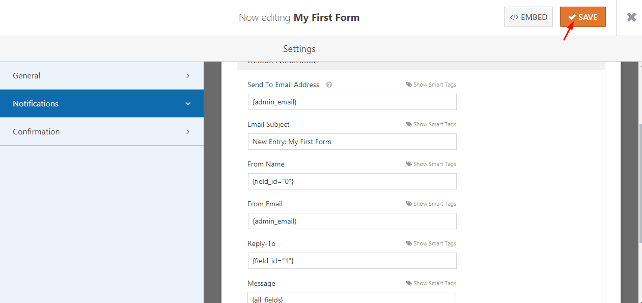 save contact form by WPForms