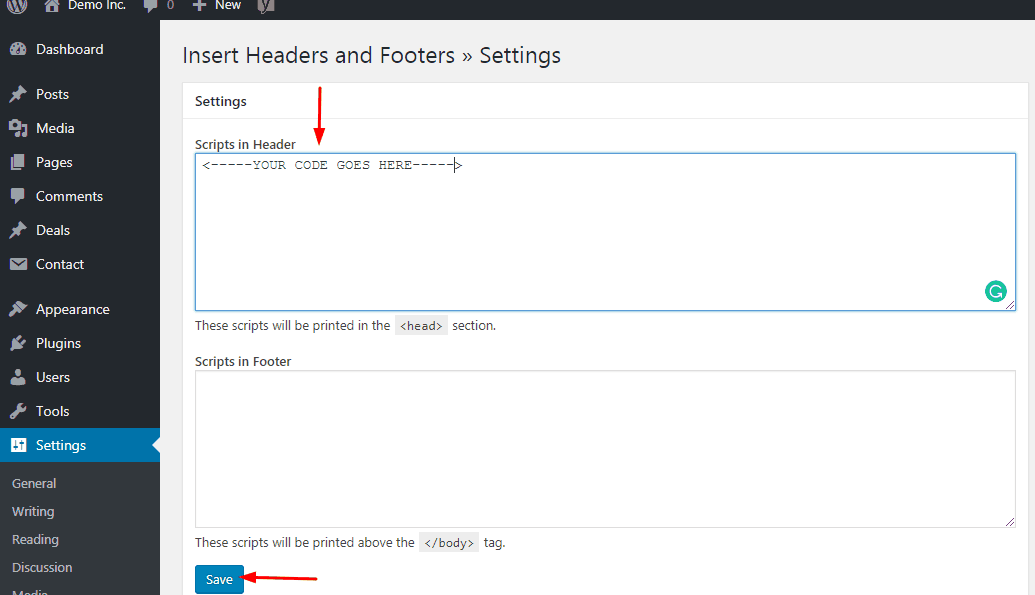 save code that added in insert headers and footers plugin