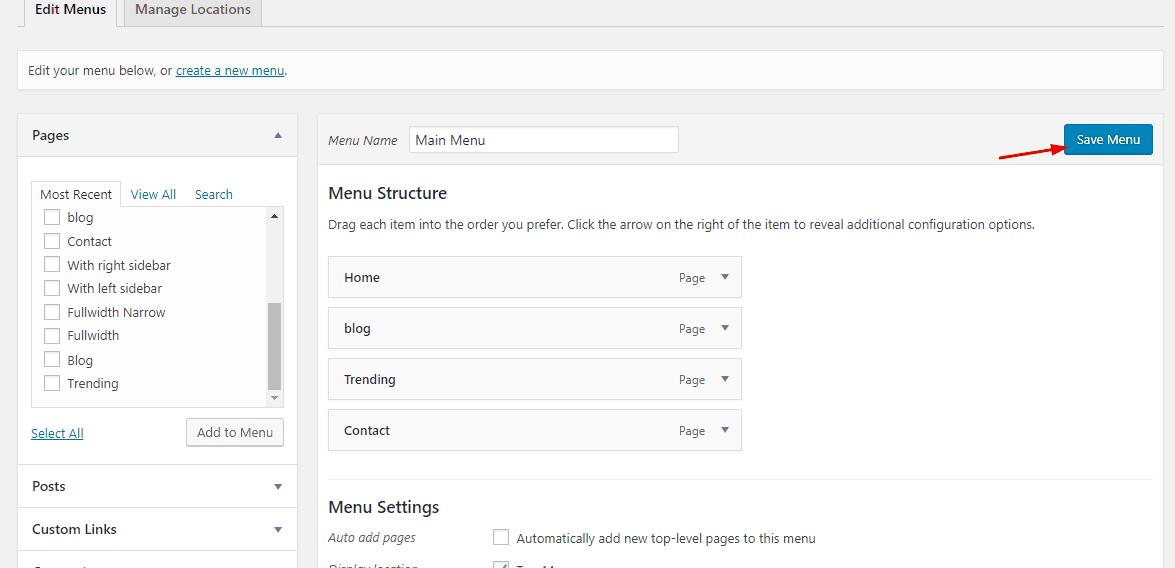 save menu on new tab settings