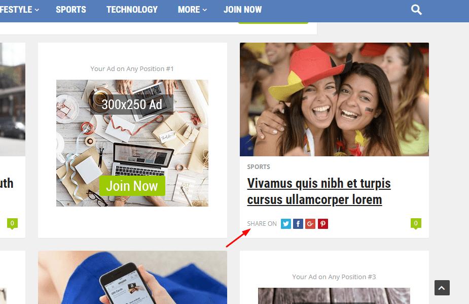 newsblock share on hover