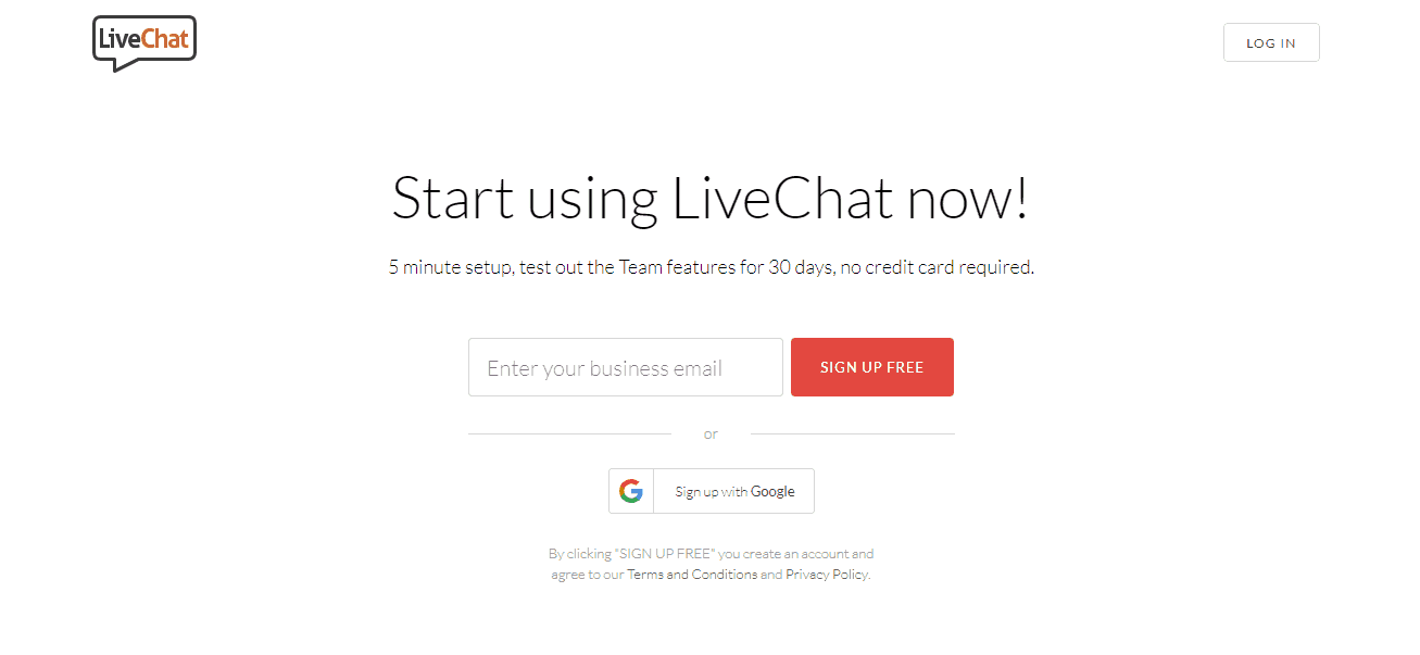 register on livechat inc