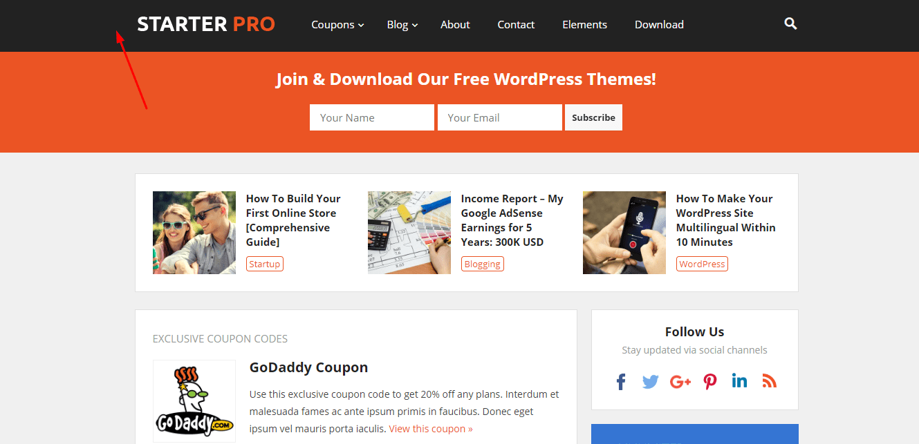 starter wordpress theme enavigation menu