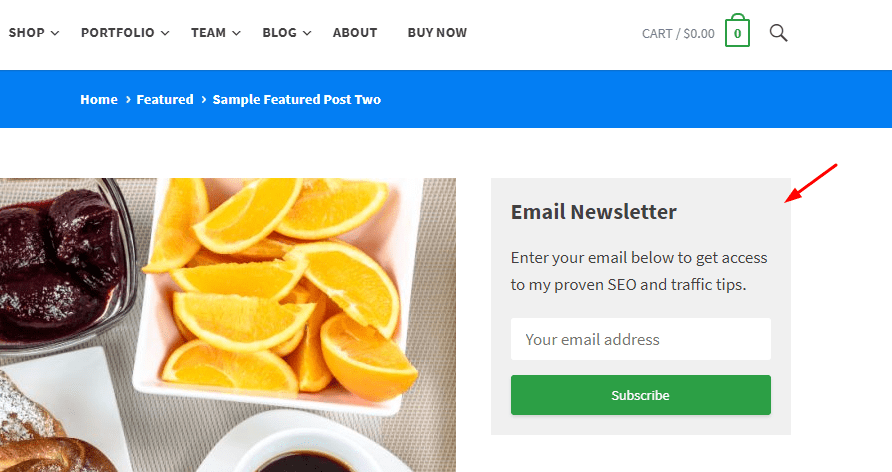 newsletter widget on subscribe theme