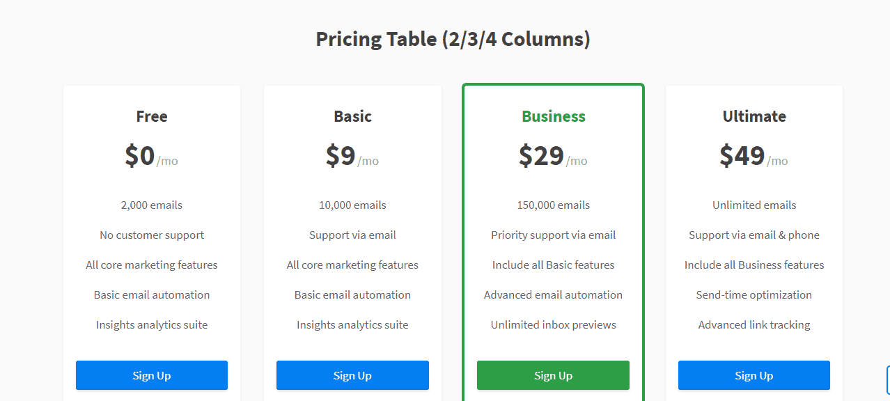 pricing table widget in subscribe theme