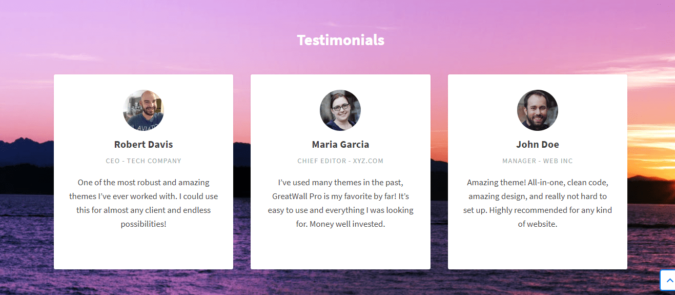 testimonials widget in subscribe theme